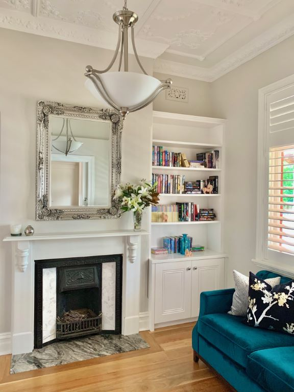 Classic Style Formal Living with Renovated Fireplace