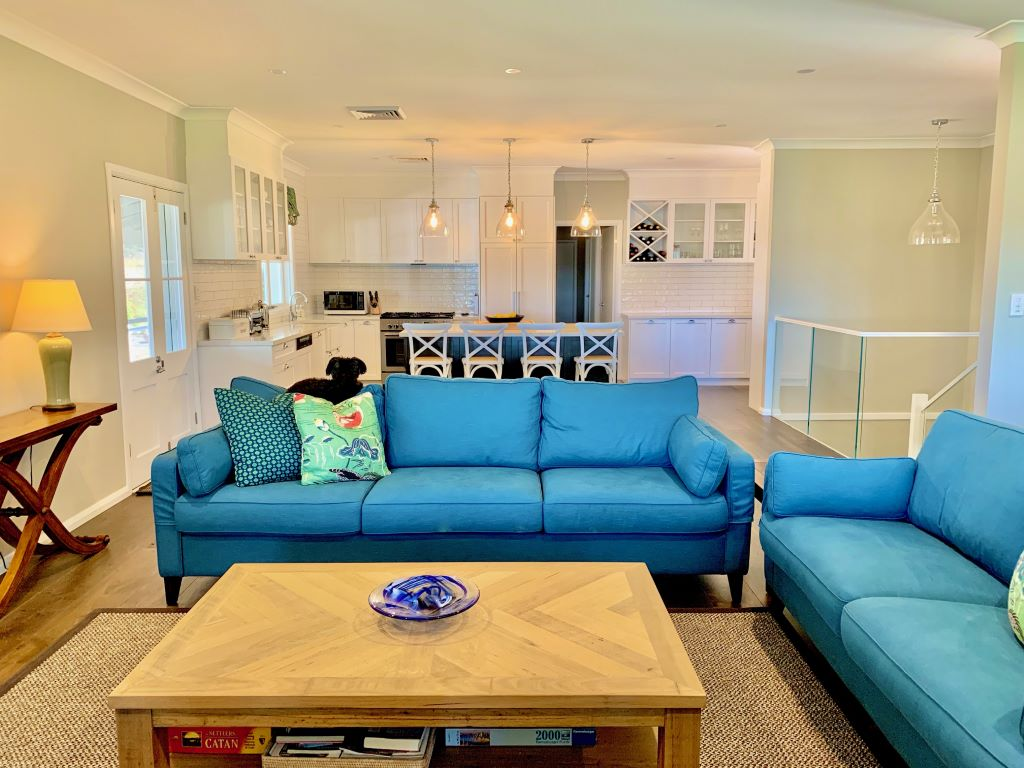 Classic Living/Kitchen with Blue Sofas