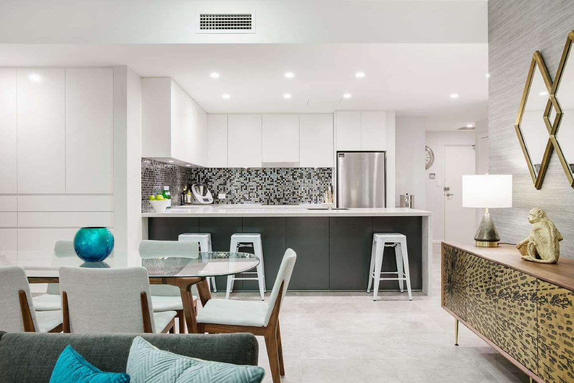 Contemporary Kitchen-Dining-Living with Retro Look