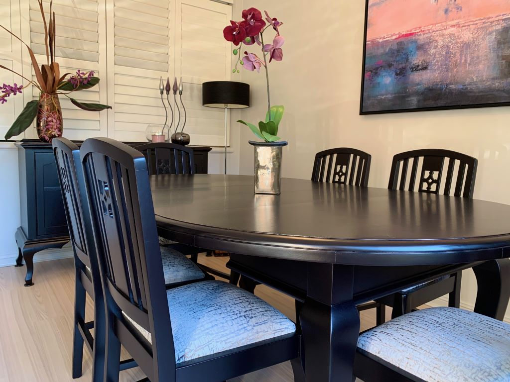 Dining space with Black Stained Furniture