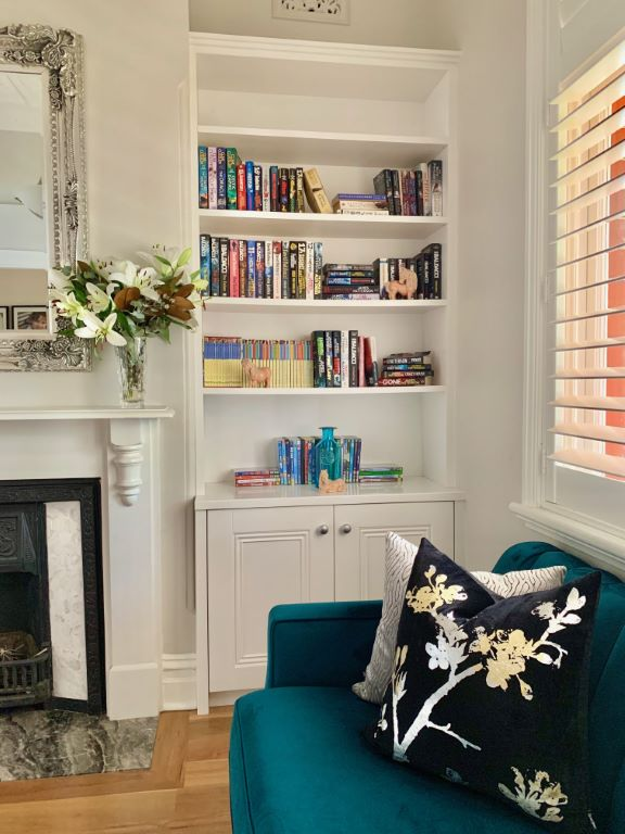 Formal Living with New Built-in Bookcases