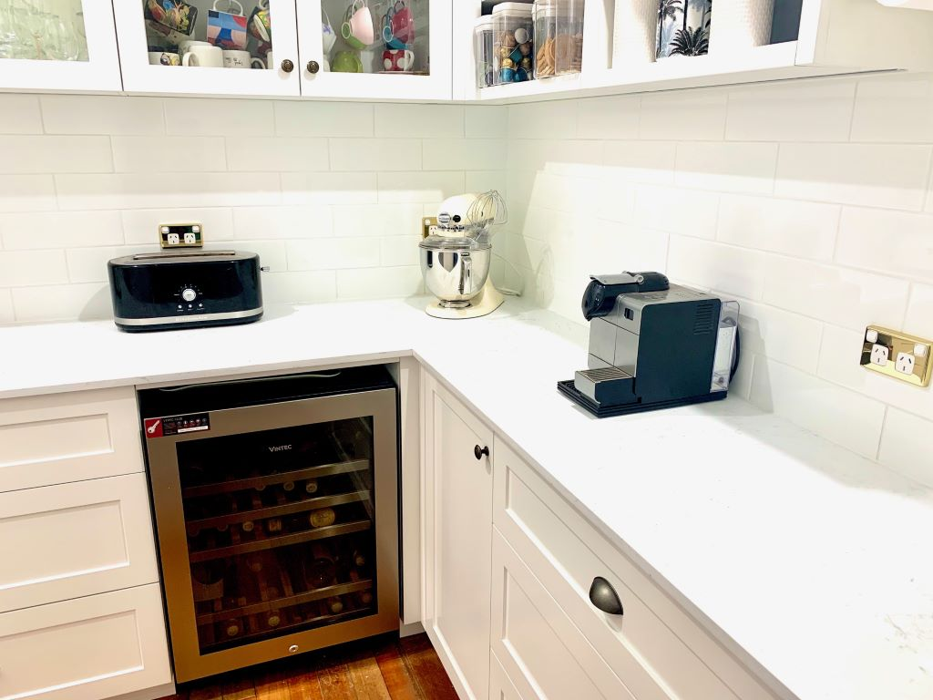 Hamptons Style Butlers Pantry with Underbench Wine Fridge