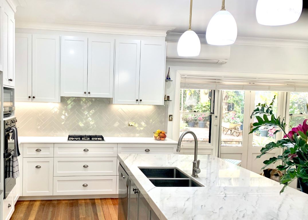 Hamptons Style Kitchen with Pendant Lights