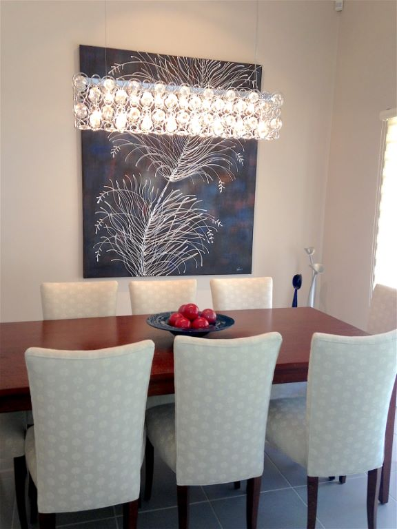 Modern Classic Dining Room with Linear Chandelier