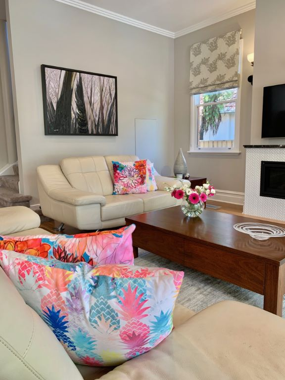 Modern Classic Family Room with Commissioned Artwork