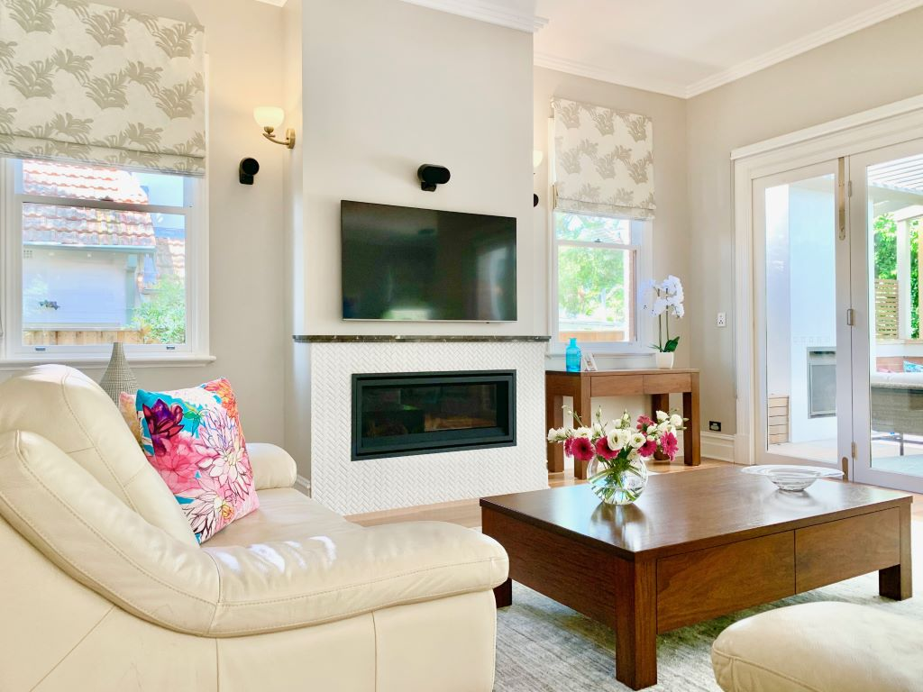 Modern Classic Family Room with Roman Blinds