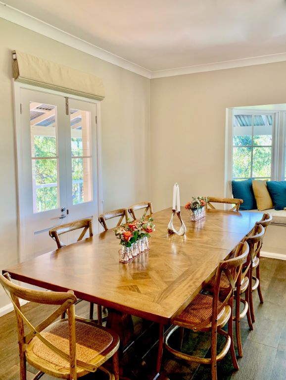 Modern Country Dining Space with Parquetry Table top