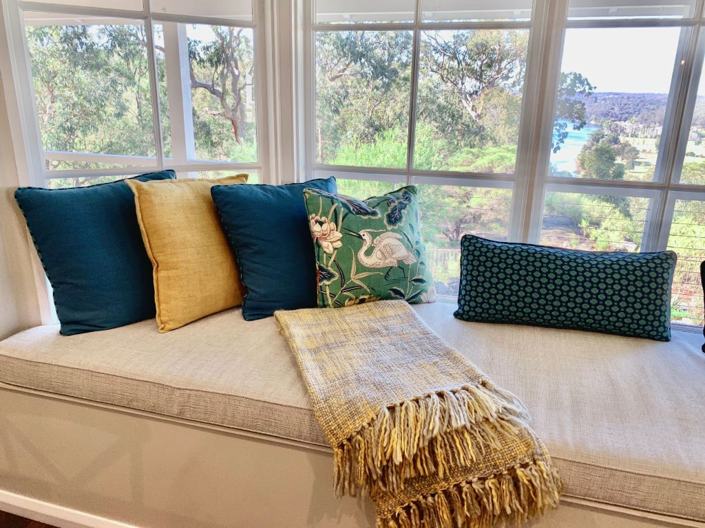 Modern Country Window Seat with Cushions Vignette