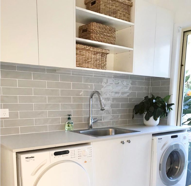 Modern Laundry with Grey Subway Tiles