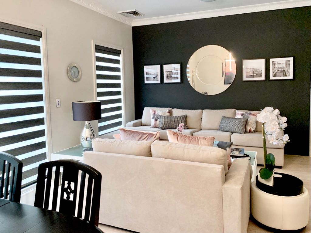 Modern Living Space with Dark Grey Feature Wall