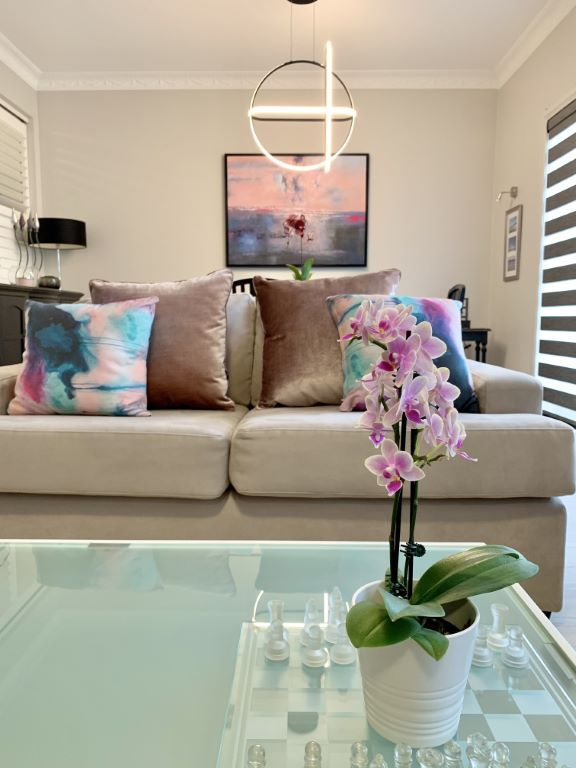 Modern Lounge-Dining with Orchid Vignette