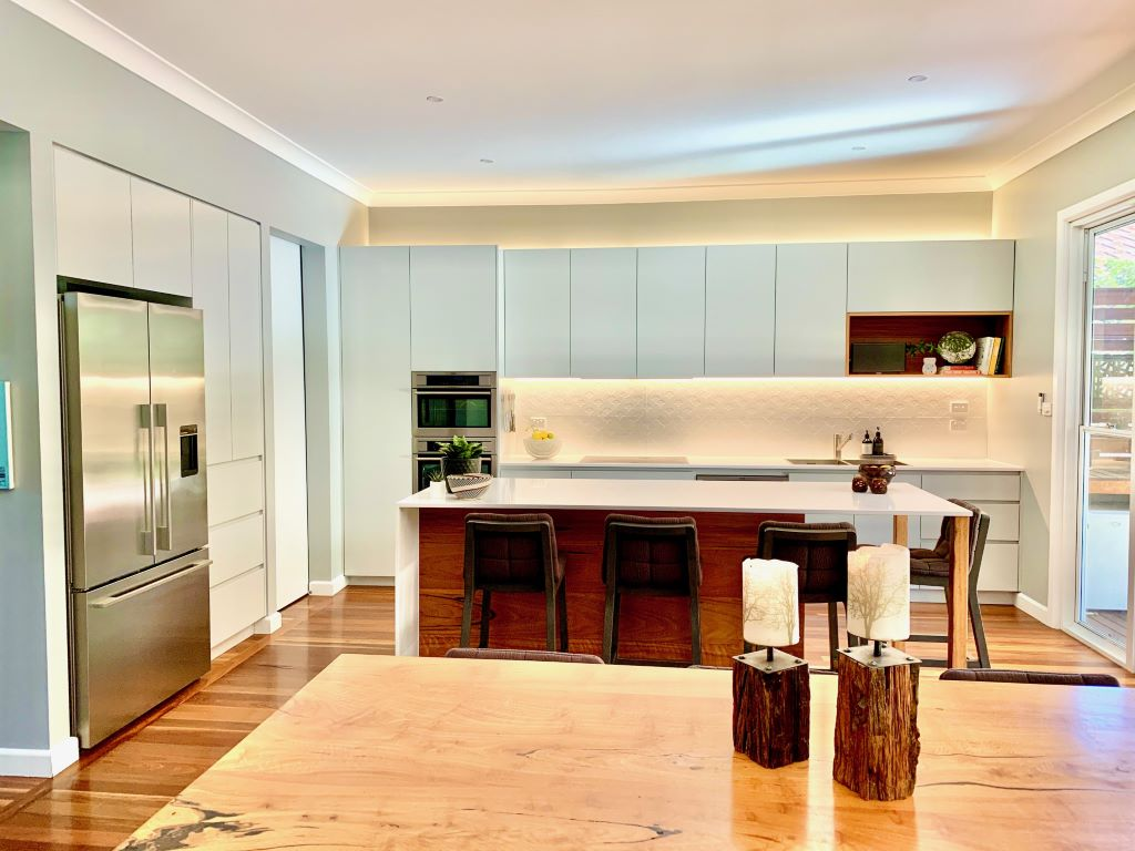 Pale Grey Modern Rustic Kitchen-Dining Space