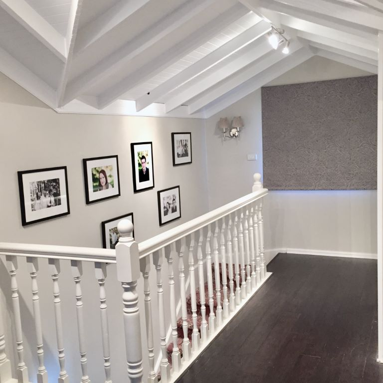 Traditional Stairwell with White Trim
