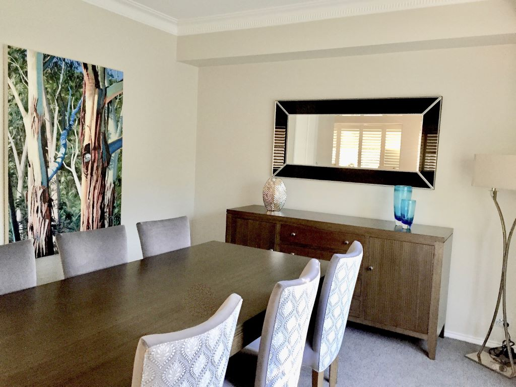 Transitional Dining Space with Commissioned Artwork