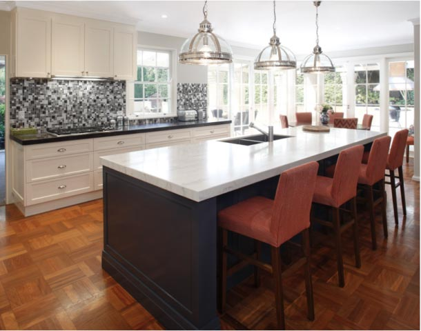 Hamptons Kitchen-Dining space with Three Pendant Lights